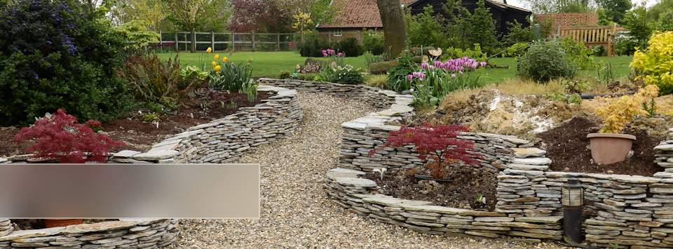 Garden Landscaping with dry stone walls